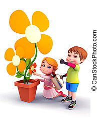 Kids with flowers and water spray - 3D illustration of Cute...