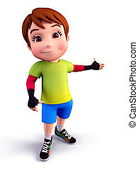 Boy pointing towards blank space - 3D illustration of Cute...