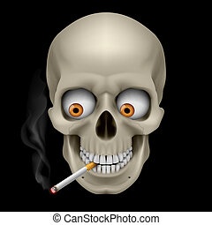Human Skull with eyes and cigarette Illustration on black...