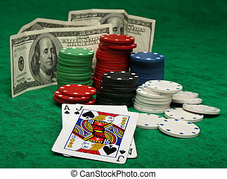 A winning blackjack hand with gambling chips