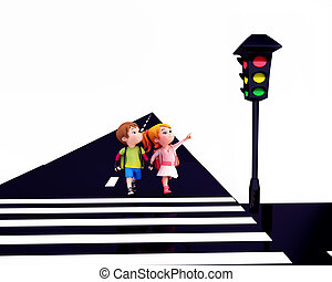 Kids observing the signal lights - 3D illustration of Cute...