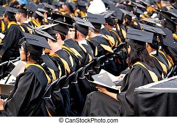 graduados, en, comienzo, ceremonia