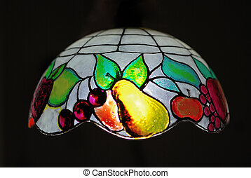 Tiffany ceiling lamp decorated with colored fruits
