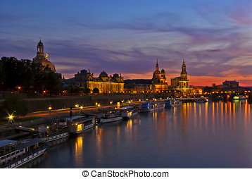 Dresden, Germany, at sundown - View of the baroque historic...