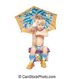 箱, 男の子, 座る, 傘, 下に