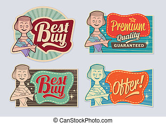 Retro vintage advertising labels - editable vector images...