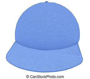 Cloth Cap 3d render blue textured cotton on white background