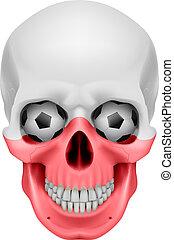 Human Skull with Soccer balls for eyes. Illustration on...