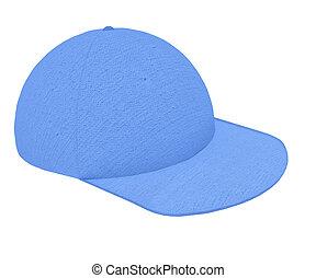 Cap 3d render blue textured cotton on white background