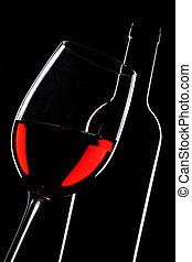 silhouette, fond, sur, verre, noir, bouteille, rouges, vin