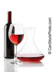 Red wine. A bottle, a glass and a decanter isolated