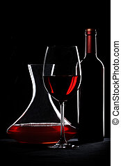 Red wine. Bottle, glass and decanter silhouette