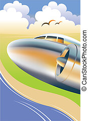 Airplane Illustration - Vector illustration of an airplane...