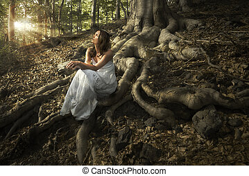 Fairy of the forest - Lovely young lady wearing elegant...