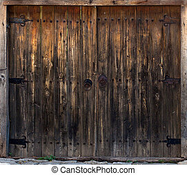 old wooden gate in the wall Nesebar, Bulgaria