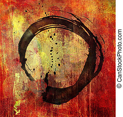 hand painted enso symbol on background grunge