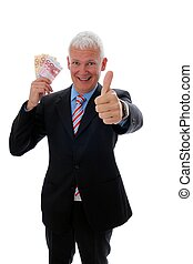 Businessman with thumb up and money - Senior Businessman...
