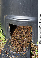 Closeup of Compost bin to recycle garden and kitchen waste