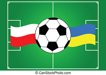 vector of soccer ball with waving flags of Poland and Ukraine