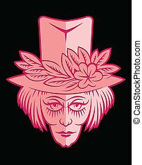 Cor-de-rosa, flor, rosto