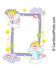 Frame with angels,vector.