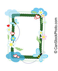 Frame with bees ,vector