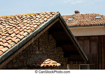 Tiles on old castle roof