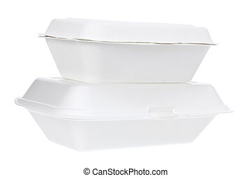 Styrofoam Boxes on White Background