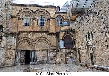 Main entrance to the Church of the Holy Sepulchre in Jerusalem, Israel