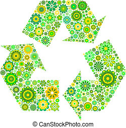 recycling symbol - Flowery recycling symbol isolated on...
