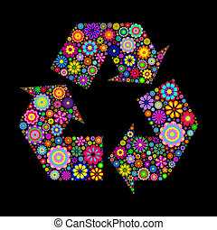 recycling symbol - Flowery recycling symbol or logo on black...