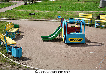 Children's playground in the yard