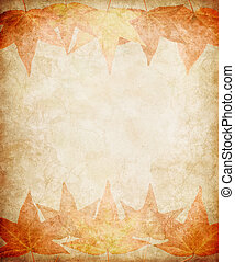 Fall Leaves on Grunge Paper