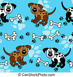 Seamless dogs and bones borders over blue - Cute and fun...
