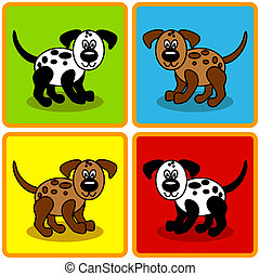 Seamless cartoon dogs over squares