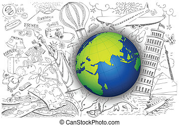 Travel around Globe - illustration of travel element doodle...