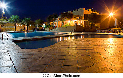 open-air swimming pool at night - open-air swimming pool in...