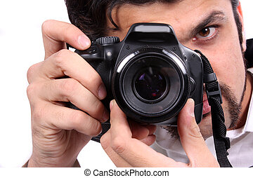 Focus of a Photographer - A closeup view of an Indian...