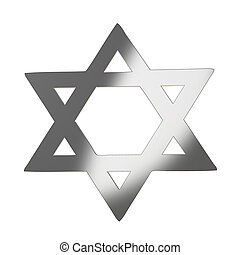 Star of David 3d in silver gray