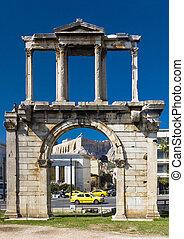 acrópolis, arco,  hadrian, Plano de fondo