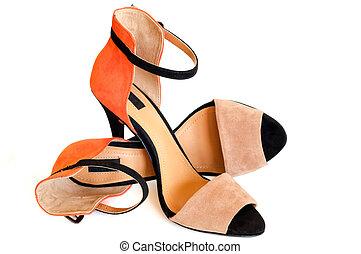 beige orange and black woman high heel shoe