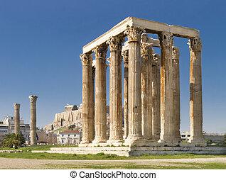 Olympian, zeus, templo, atenas, grecia