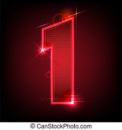 Glowing Number Seven - illustration of glowing number seven...