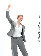 Motivated woman cheering - Motivated businesswoman in a...