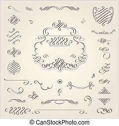 Calligraphic Design Elements - Vector set Calligraphic...