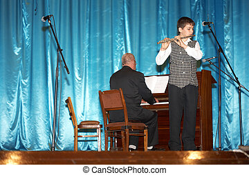 Classical music - The boy plays a flute classical music