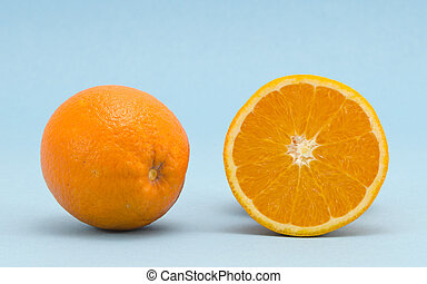 Orange healthy nutrition fruits  blue background
