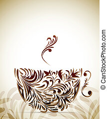 Coffe cup with color floral design elements