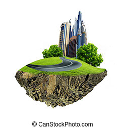 Modern city surrounded by nature landscape - Image of a...
