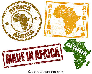 Africa stamps - Set of grunge rubber stamps with the word...